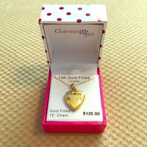 "NWT 14K Gold Filled Cross Locket w/ 15"" Chain"